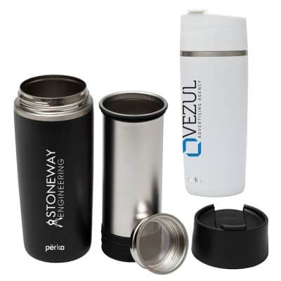 Perka Macchiato 12 oz. Double Wall Coffee/Tea Press Tumbler